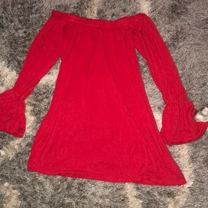 Boohoo off the shoulder red dress
